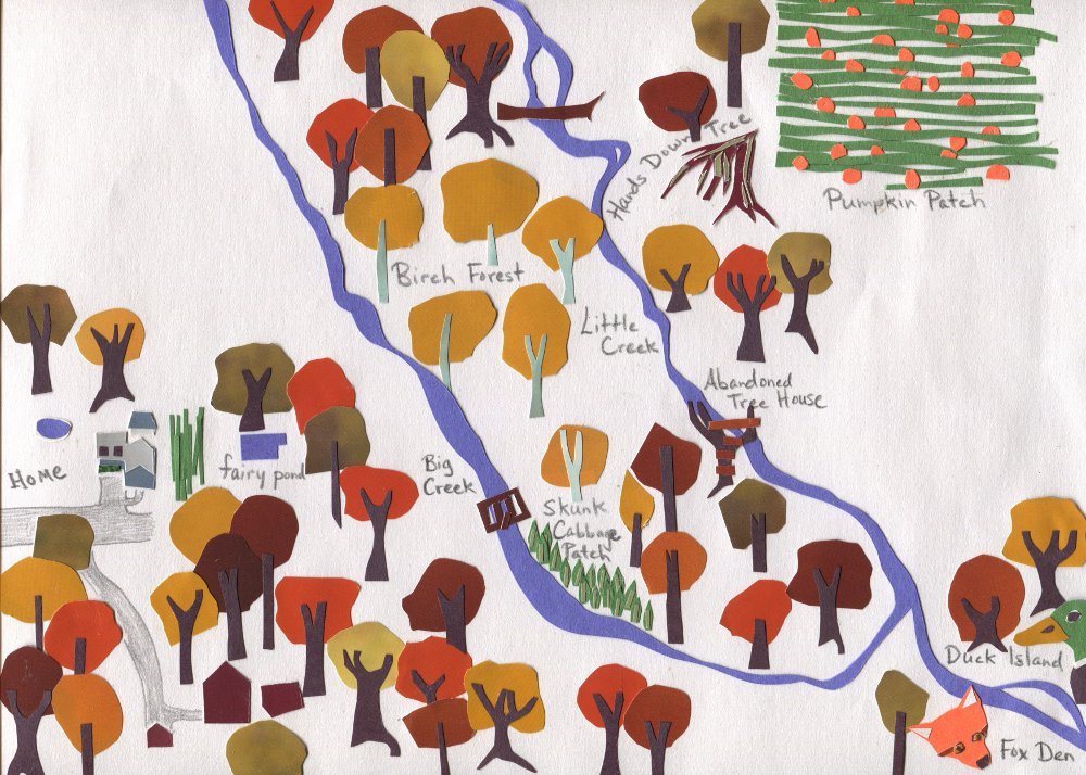 The Middlest Sister: The Woods. Map of woods behind our house in Littleton, MA.