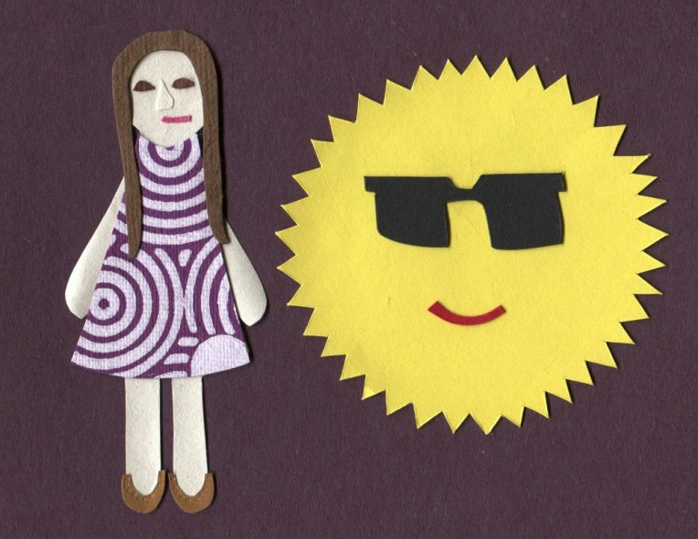 Tess stands next to the sun nonchalantly