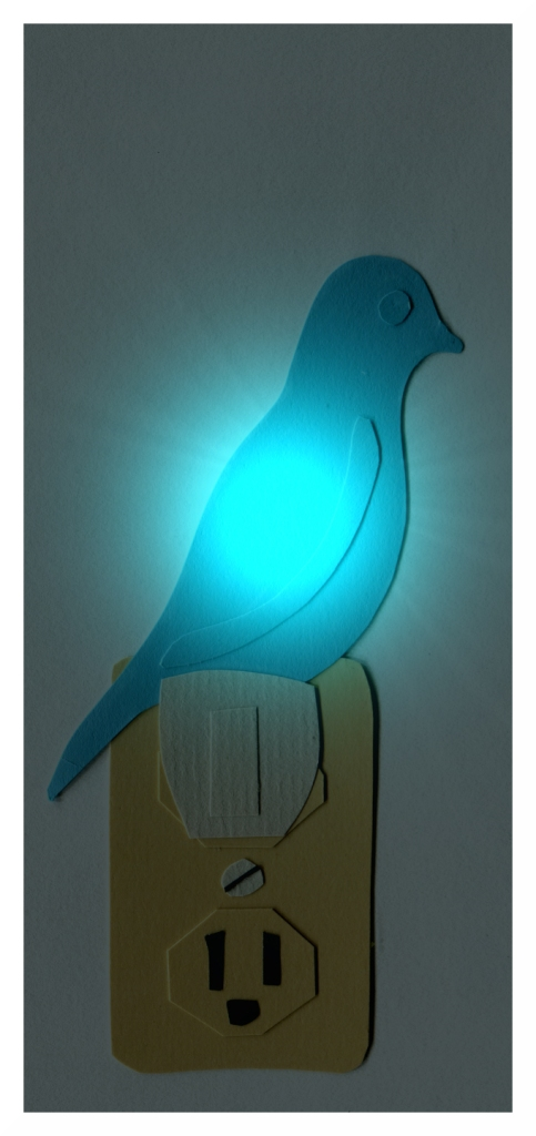 Illustration of a a blue canary nightlight.