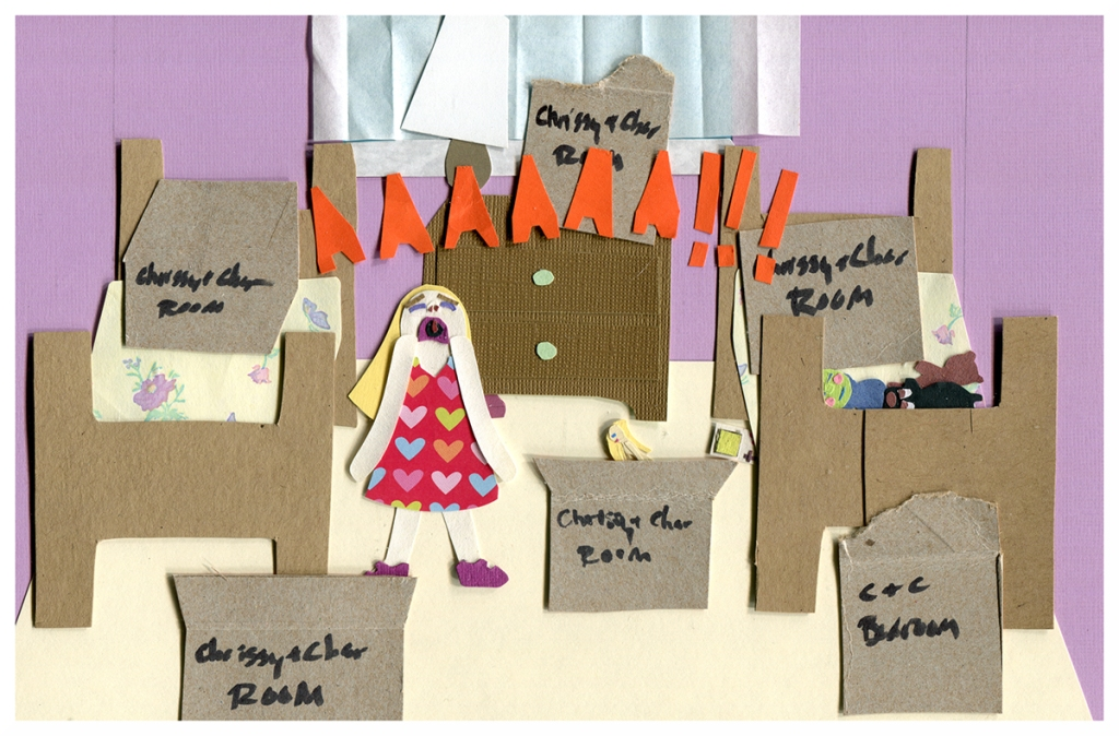 Chrissy stands screaming in her new bedroom, unpacked boxes all around her.