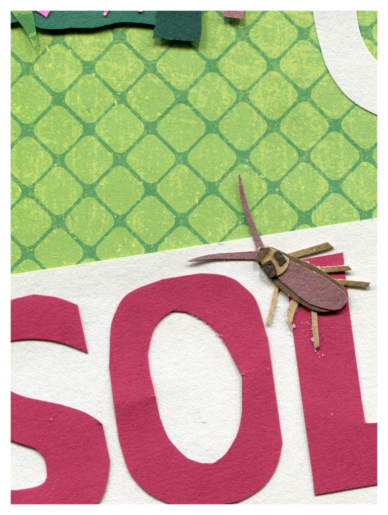 Closeup of a cockroach on a SOLD sign.