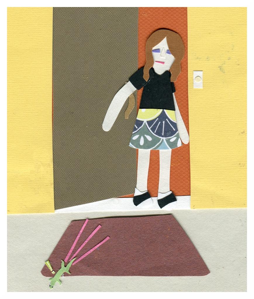 Nicki opens the front door and a lizard scurries away.