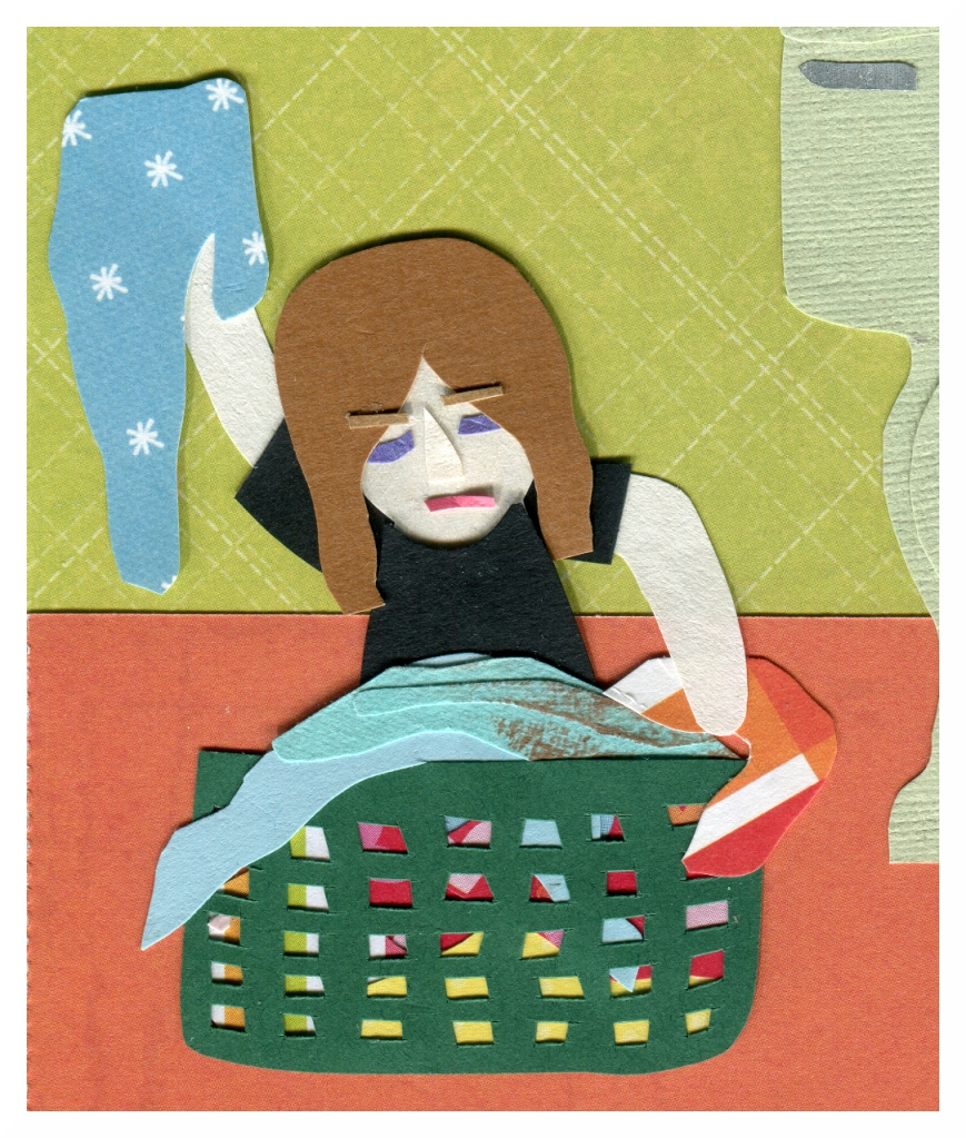 Nicki looks through a dirty laundry basket